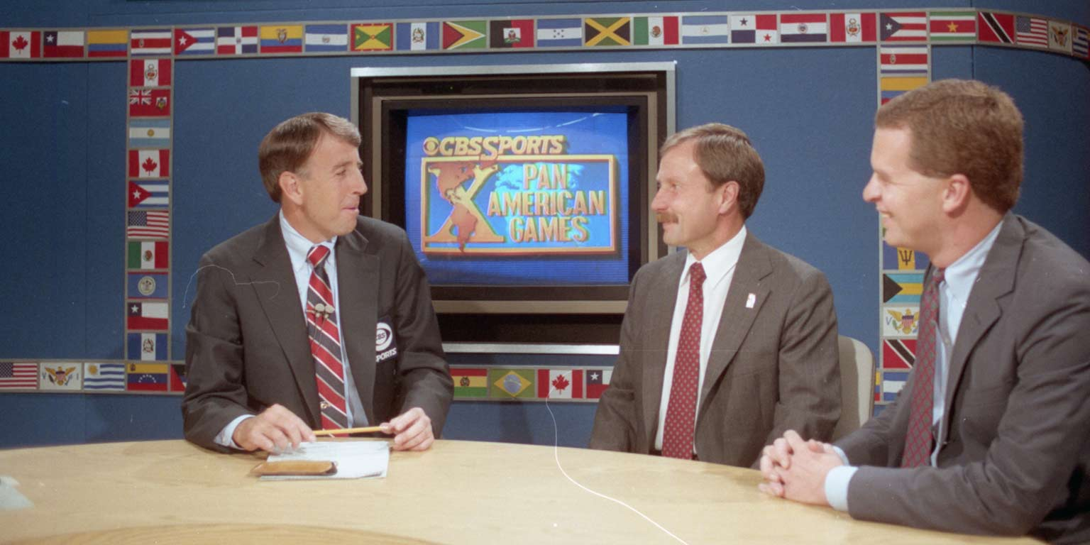Former IUPUI Chancellor Gerald Bepko appearing on CBS Sports during the Pan American Games in 1987.