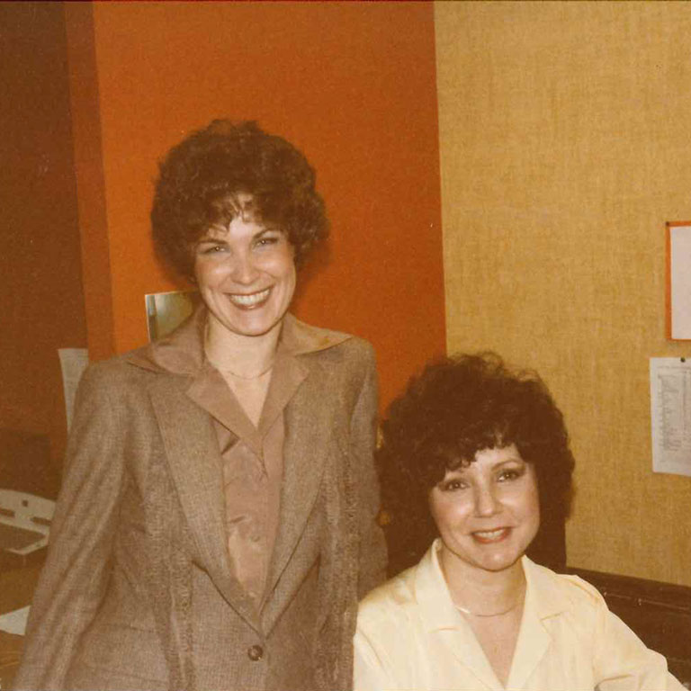 Linda Durr stands with her former colleague Shirley Nusbaum at their office in 1980.