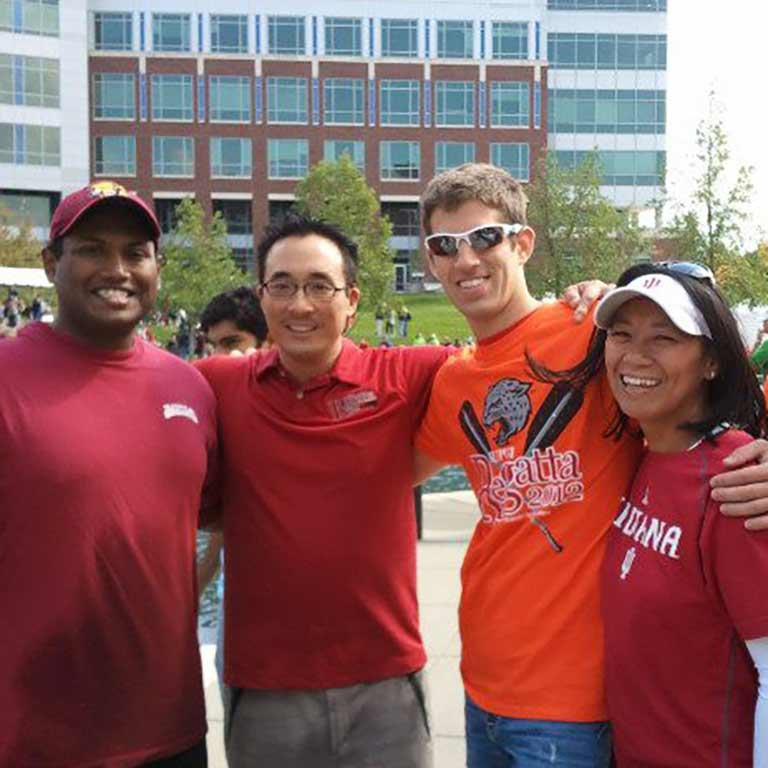 Jake Manaloor at the 2012 IUPUI Regatta with members of the IU/IUPUI Central Indiana Alumni Association, including fellow Face of IUPUI David Nguyen and IUPUI Board of Advisor member Jeannie Sager.