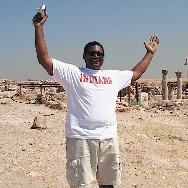 Jake Manaloor at the Roman ruins in Jordan.