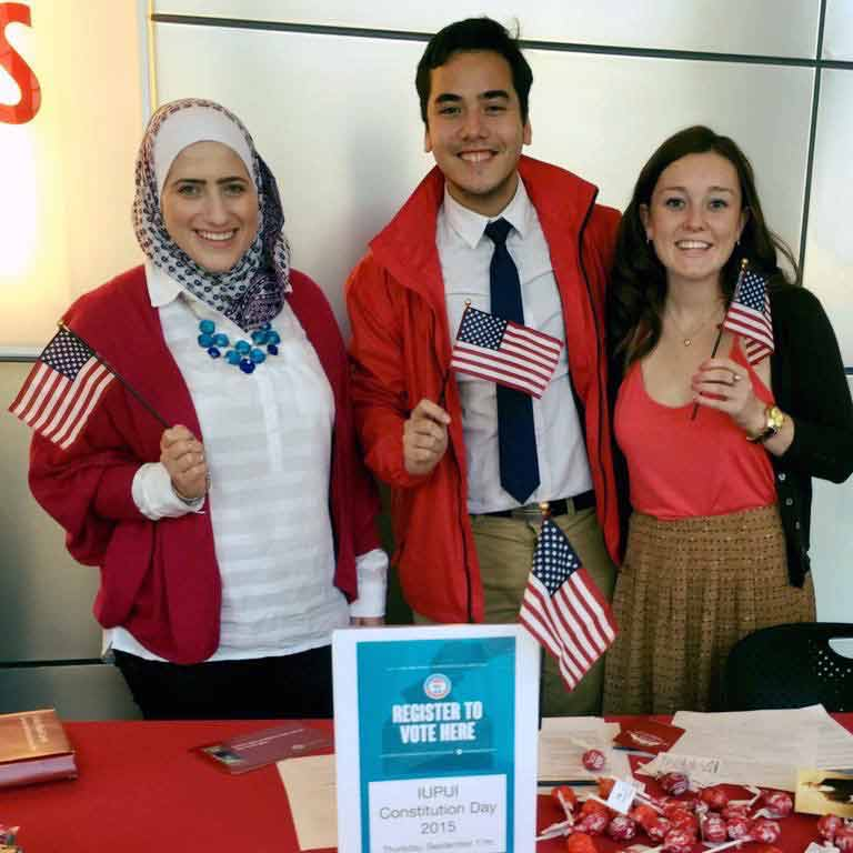 Andre Zhang Sonera with peers at the IUPUI Voter Registration Day on Constitution Day 2015.