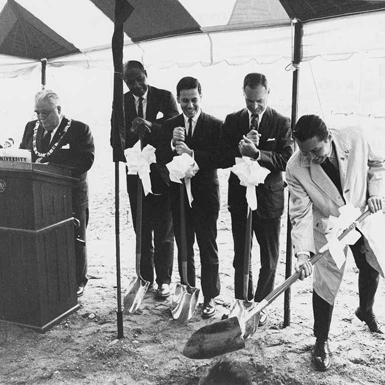 Joseph Taylor at the groundbreaking of Cavanaugh Hall in 1968 with former IU President Herman B Wells, former Indianapolis Mayor Richard Lugar, former IU Trustee Donald Danielson, and former IU President Elvis Stahr.