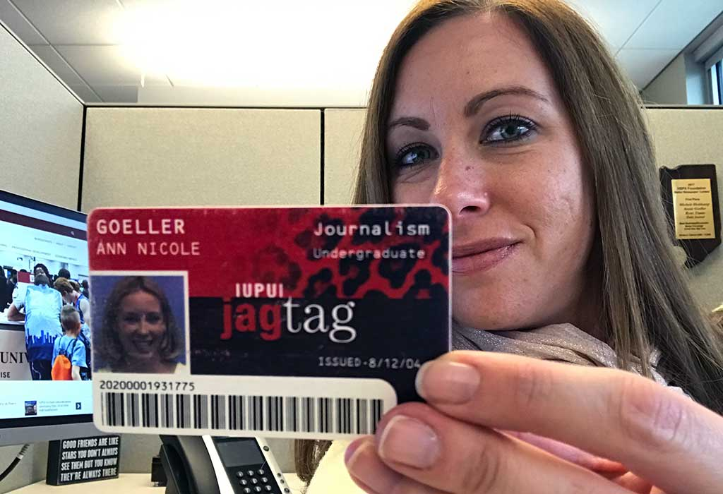 Annie Goeller holds her Jag Tag ID from when she was an IUPUI student